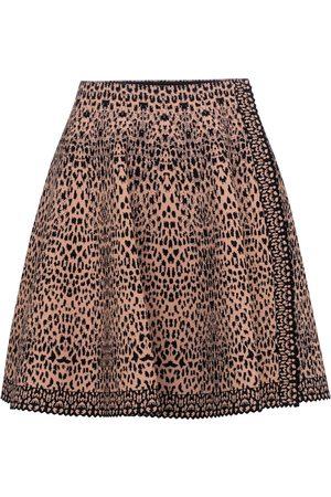 Alaïa Leopard-jacquard stretch-knit miniskirt