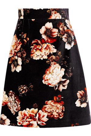 Dolce & Gabbana Women Printed Skirts - Woman Floral-print Stretch-cotton Velvet Skirt Size 38