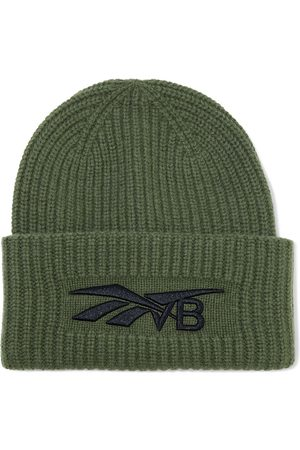 Reebok Woman Embroidered Ribbed Wool And Cashmere-blend Beanie Army Size ONESIZE