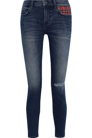 Current/Elliott Women Skinny - Woman The Stiletto Checked Twill-paneled Distressed Low-rise Skinny Jeans Mid Denim Size 29
