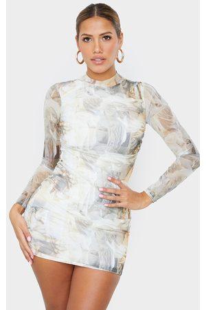 PRETTYLITTLETHING Shape Nude Renaissance Print High Neck Mesh Bodycon Dress