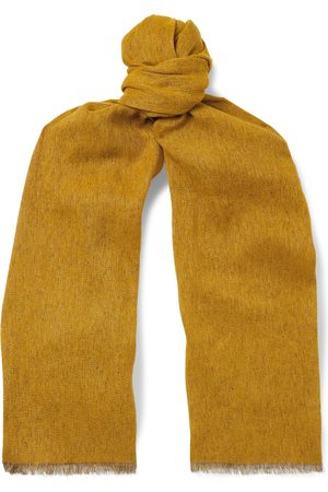 Loro Piana Men Scarves - Fringed Mélange Baby Cashmere and Linen-Blend Scarf