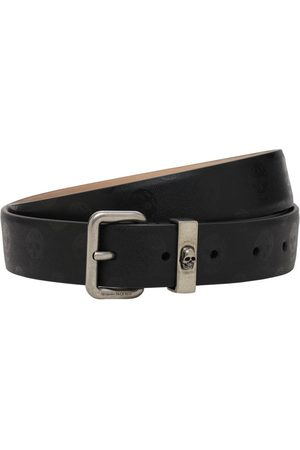 Alexander McQueen 30mm Skulls Leather Belt