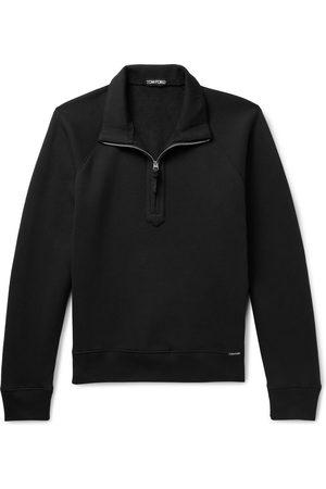 Tom Ford Garment-Dyed Cotton-Jersey Half-Zip Sweatshirt