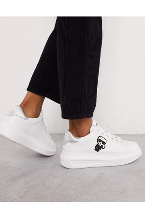 Karl Lagerfeld Leather platform sole trainers with silver trim