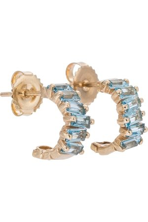 Suzanne Kalan Gia 14kt hoop earrings with topaz