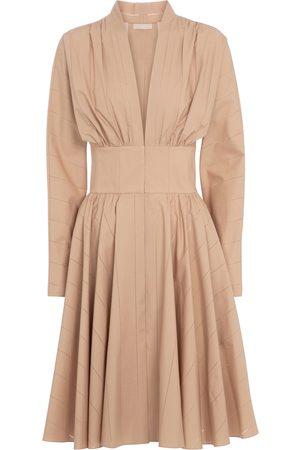 Alaïa Women Short Sleeve - Long-sleeved cotton minidress