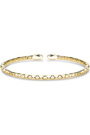 Pragnell 18kt gold Groove textured bangle bracelet