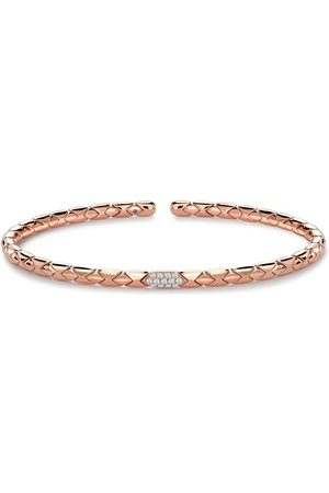 Pragnell 18kt rose gold diamond Groove textured bangle bracelet