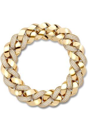 Pragnell 18kt yellow gold diamond Cuba small chain bracelet