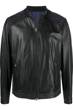 Etro Suede panel leather jacket