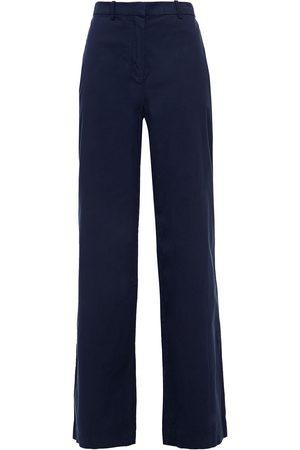 THEORY Women Wide Leg Trousers - Woman Cotton-twill Wide-leg Pants Navy Size 0