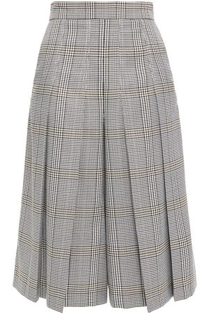 Maje Woman Pleated Prince Of Wales Checked Jacquard Culottes Dark Gray Size 36