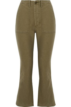 R13 Woman Cotton-twill Kick-flare Pants Army Size 24