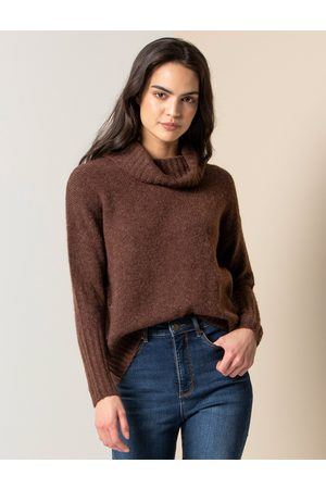 Forever New Women's Mayleen Roll Neck Jumper in Chocolate, Size Large Acrylic/Polyamide/Wool