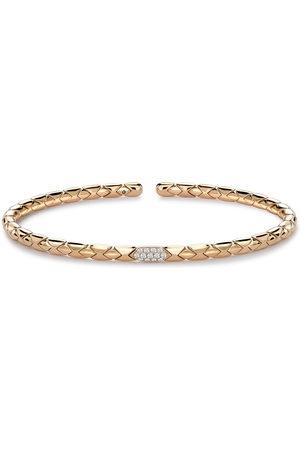 Pragnell 18kt gold diamond Groove textured bangle bracelet