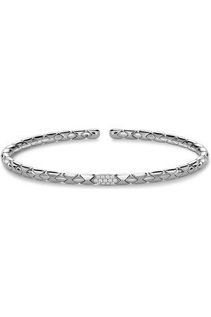 Pragnell 18kt gold diamond Grooved textured bangle bracelet