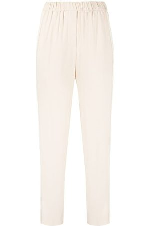 PESERICO SIGN Side slit slim-fit trousers - Neutrals