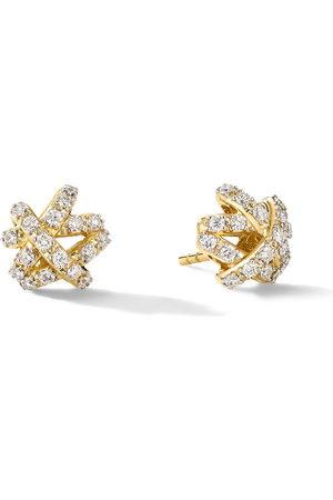 David Yurman Women Earrings - 18kt yellow diamond Full Pavé Crossover stud earrings