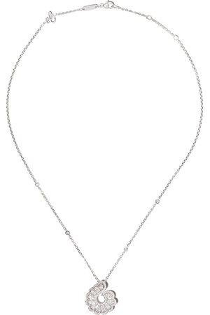 Chopard 18kt white gold diamond swirl pendant necklace