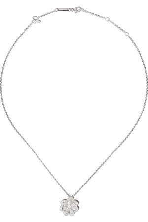 Chopard 18kt white gold diamond flower pendant necklace