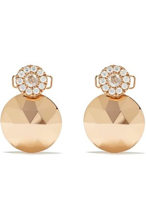 David Morris 18kt rose diamond Rose Cut Forever Geo Disc earrings