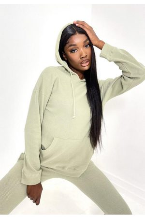 Missguided Women Loungewear - Khaki Waffle Stitch Hoodie And Joggers Loungewear Set