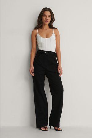Isha Van Dijk x NA-KD Front Pocket Detail Suit Pants - Black