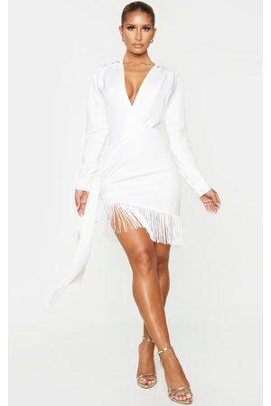 PRETTYLITTLETHING Long Sleeve Tassel Hem Drape Detail Bodycon Dress