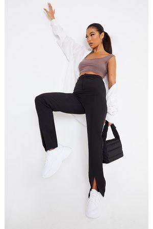PRETTYLITTLETHING Woven Straight Leg Split Hem Trousers