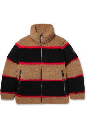 Burberry Bradfield Logo-Appliquéd Striped Fleece Down Jacket