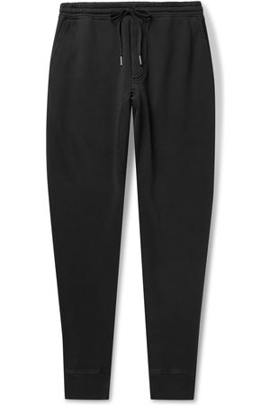 Tom Ford Men Trousers - Tapered Garment-Dyed Fleece-Back Cotton-Jersey Sweatpants
