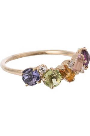 Suzanne Kalan Rainbow 14kt gold ring with sapphires and diamonds
