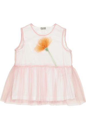 Il gufo Floral tulle top