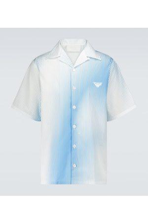 Prada Striped cotton camp-collar shirt