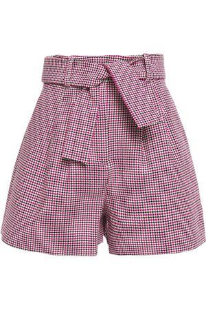 Maje Woman Belted Cotton-blend Jacquard Shorts Fuchsia Size 34