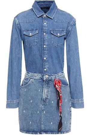 MAJE Woman Rimel Printed Denim Mini Dress Mid Denim Size 36