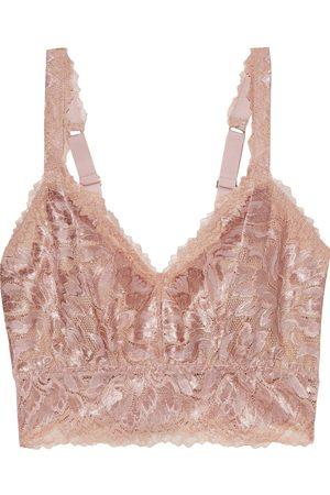 Cosabella Woman Natalia Metallic Stretch-leavers Lace Bralette Rose Size L