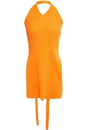 tibi Woman Cutout Ribbed-knit Halterneck Top Bright Size M
