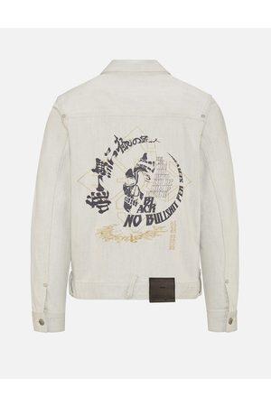 Evisu Hannya Skull and Slogan Print Denim Jacket