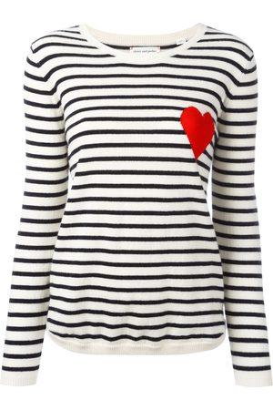 Chinti and Parker Women Jumpers - Breton stripe heart jumper - CREAM/NAVY/