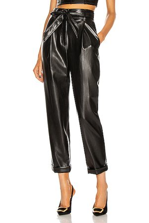 FLEUR DU MAL Women Trousers - Vegan Leather High Waist Belted Pant in