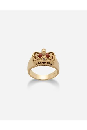Dolce & Gabbana Jewelry - CROWN YELLOW RING. RED JASPER ON THE INSIDE male 62
