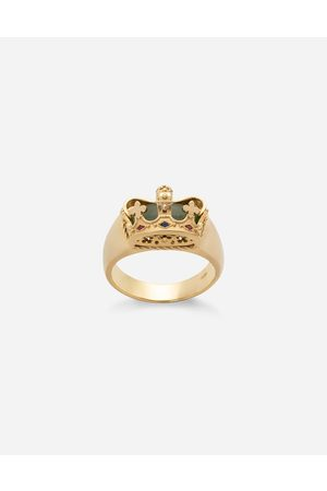 Dolce & Gabbana Jewelry - CROWN YELLOW RING. GREEN JADE ON THE INSIDE. male 62