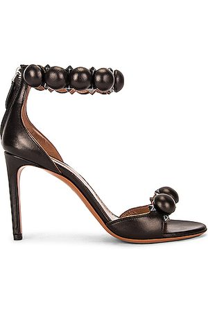 Alaïa Leather Bombe Sandals in Noir