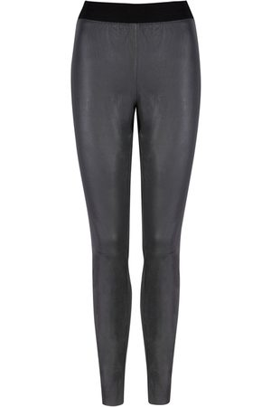 Muubaa Women Leather Trousers - Charcoal Cowley Stretch Leather Leggings