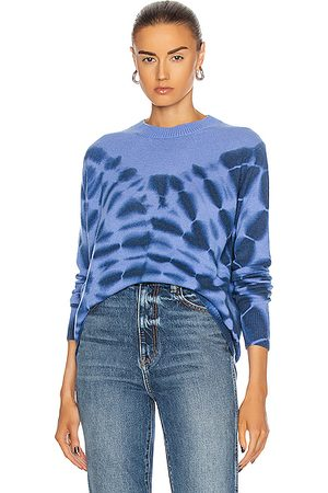 THE ELDER STATESMAN Ink Blot Tranquility Crew Sweater in Periwinkle & Navy