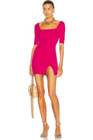 Zeynep Arcay Square Neck Mini Knit Dress in Fuchsia