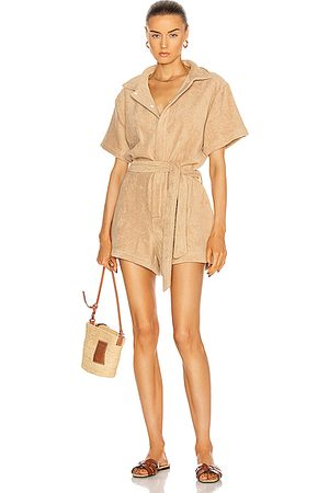 TERRY Belted Romper in Tan
