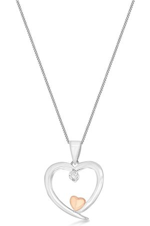 The Love Silver Collection Sterling Silver And Rose Gold Plated Cubic Zirconia Hearts Necklace